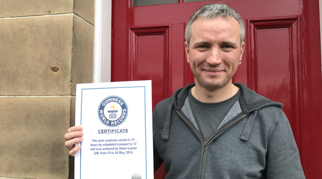 Adam Leyton with Guinness World Records Certificate