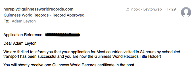 Guiness World Records Email
